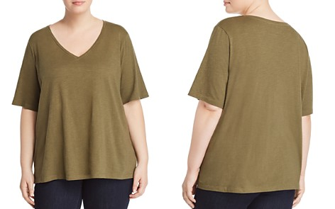 Eileen Fisher Plus Organic Cotton V-Neck Tee - Bloomingdale's_2