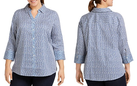 Foxcroft Plus Mary Dotted Button-Down Top - Bloomingdale's_2