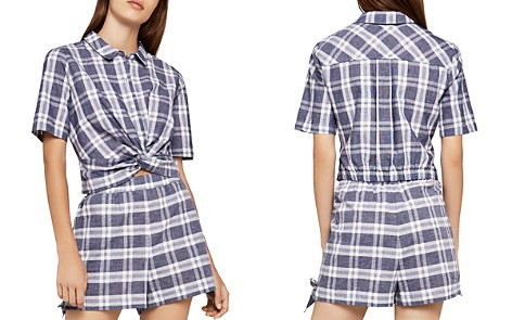 BCBGeneration Twist-Front Plaid Shirt - Bloomingdale's_2