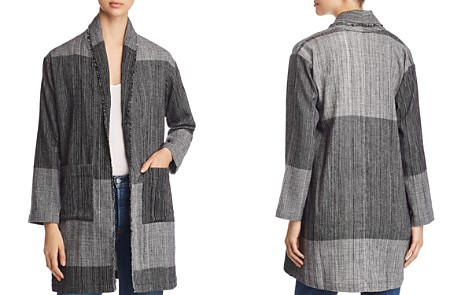 Eileen Fisher Color Blocked Frayed Trim Jacket - Bloomingdale's_2