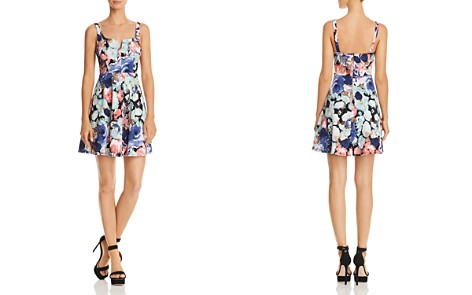 AQUA Notch Floral Fit-and-Flare Dress - 100% Exclusive - Bloomingdale's_2