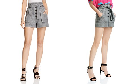 Maje Iraime Belted Plaid Shorts - Bloomingdale's_2