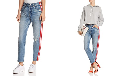 Pistola Nico Striped Distressed Straight-Leg Jeans in Racer - Bloomingdale's_2