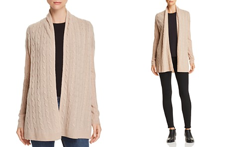 C by Bloomingdale's Open-Front Cable-Knit Cashmere Cardigan - 100% Exclusive _2