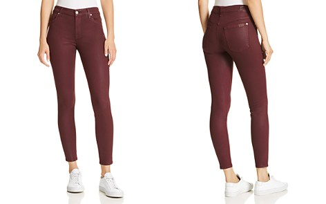 7 For All Mankind Coated Ankle Skinny Jeans in Bordeaux - Bloomingdale's_2