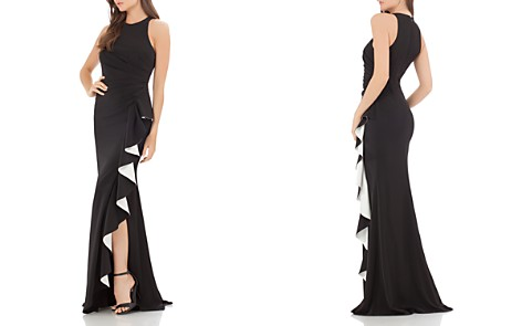 Carmen Marc Valvo Infusion Contrast Ruffle Gown - Bloomingdale's_2