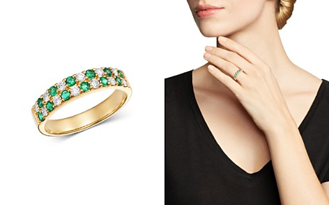 Bloomingdale's Emerald & Diamond Checkered Band Ring in 14K Yellow Gold - 100% Exclusive_2