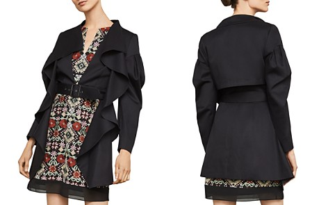 BCBGMAXAZRIA Ruffled High/Low Trench Jacket - Bloomingdale's_2