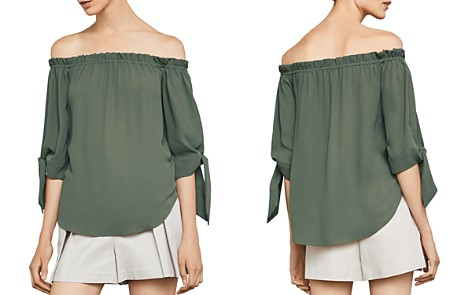 BCBGMAXAZRIA Off-the-Shoulder Tie-Cuff Top - Bloomingdale's_2