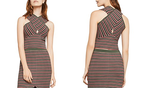 BCBGMAXAZRIA Crossover Striped Cropped Top - Bloomingdale's_2