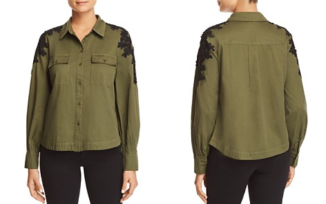 Marled Lace-Shoulder Military Top - Bloomingdale's_2