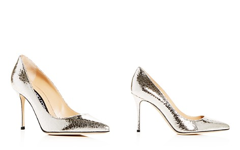 Sergio Rossi Women's Crackled Leather Pointed Toe Pumps - Bloomingdale's_2