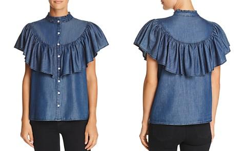 AQUA Ruffled Chambray Western Shirt - 100% Exclusive - Bloomingdale's_2
