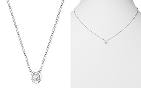 Bloomingdale's Diamond Oval Bezel Set Pendant Necklace in 14K White Gold, 0.20 ct. t.w. - 100% Exclusive_2