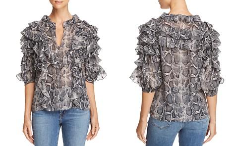 Rebecca Taylor Ruffle-Sleeve Snake-Print Top - Bloomingdale's_2