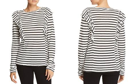 FRAME Ruffled Striped Linen Tee - Bloomingdale's_2