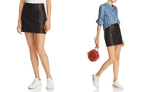 FRAME Double-Zip Leather Mini Skirt - Bloomingdale's_2