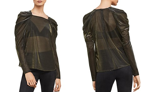 BCBGMAXAZRIA Metallic Draped-Shoulder Top - Bloomingdale's_2