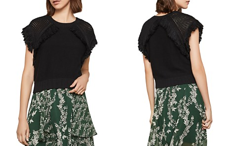 BCBGMAXAZRIA Pointelle-Sleeve Fringed Sweater - Bloomingdale's_2