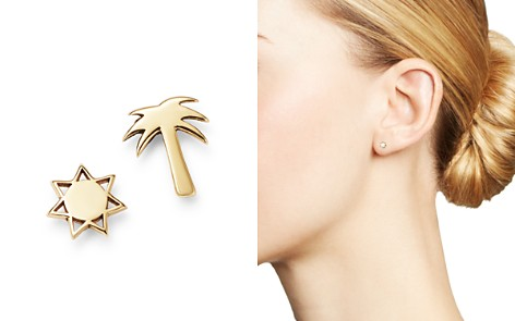 Zoë Chicco 14K Yellow Gold Itty Bitty Palm Tree & Sun Mixed Stud Earrings - Bloomingdale's_2