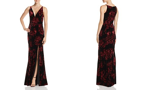 AQUA Floral Print Velvet V-Neck Gown - 100% Exclusive - Bloomingdale's_2