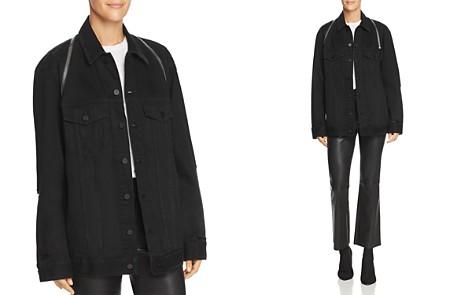 T by Alexander Wang Daze Zip Distressed Denim Jacket in Black Destroy - Bloomingdale's_2