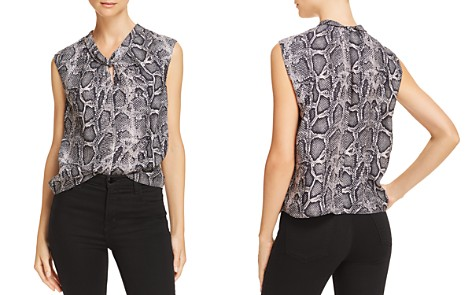 Rebecca Taylor Knot-Front Snake-Print Silk Top - Bloomingdale's_2