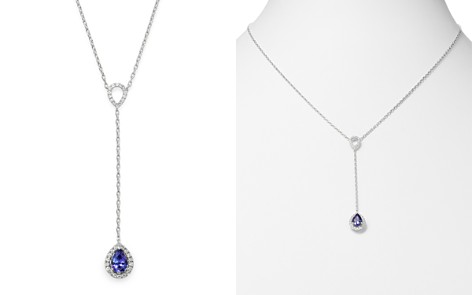 "Bloomingdale's Tanzanite & Diamond Y Necklace in 14K White Gold, 18"" - 100% Exclusive_2"