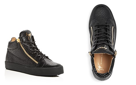 Giuseppe Zanotti Men's Snake-Embossed Leather Mid Top Sneakers - Bloomingdale's_2
