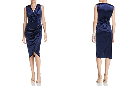 Adrianna Papell Draped Velvet Dress - Bloomingdale's_2