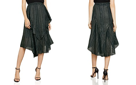 BCBGMAXAZRIA Metallic-Stripe Asymmetric Skirt - Bloomingdale's_2