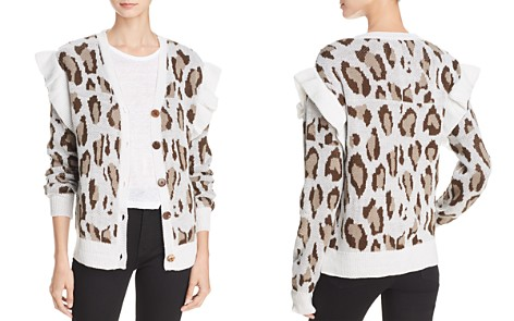 CHASER Ruffled Leopard Jacquard Cardigan - Bloomingdale's_2