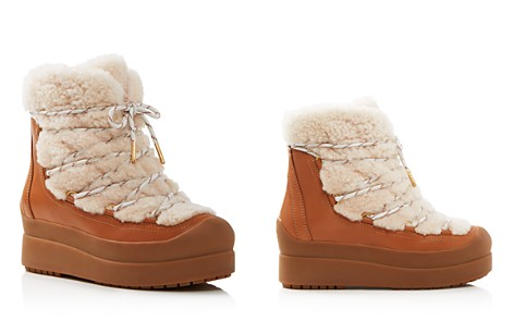 Tory Burch Women's Courtney Round Toe Leather & Shearling Booties - Bloomingdale's_2