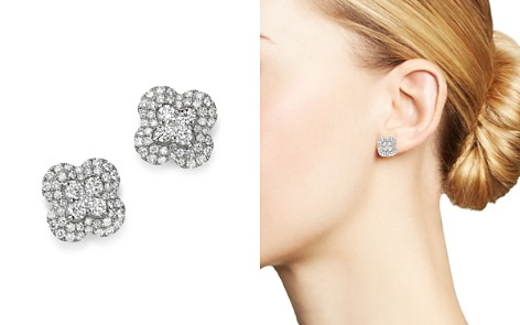 Bloomingdale's Diamond Clover Stud Earrings in 14K White Gold, 1.33 ct. t.w. - 100% Exclusive_2