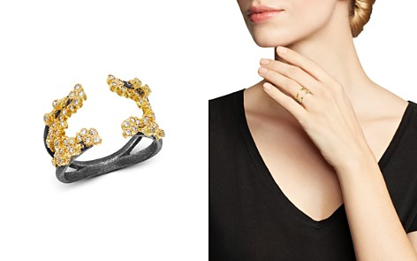 Armenta 18K Yellow Gold & Blackened Sterling Silver Old World Champagne Diamond Open Crivelli Cluster Ring - Bloomingdale's_2