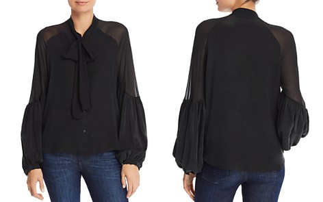 7 For All Mankind Tie-Neck Silk Shirt - Bloomingdale's_2