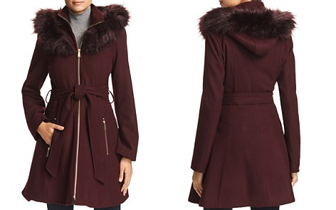Laundry by Shelli Segal Hooded Faux Fur Trim A-Line Coat - Bloomingdale's_2