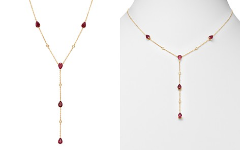 Bloomingdale's Ruby & Diamond Y Necklace in 14K Yellow Gold - 100% Exclusive_2