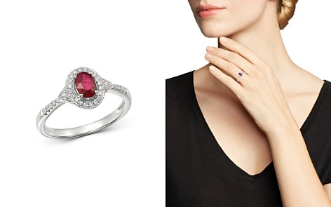 Bloomingdale's Ruby & Diamond Milgrain Ring in 14K White Gold - 100% Exclusive_2
