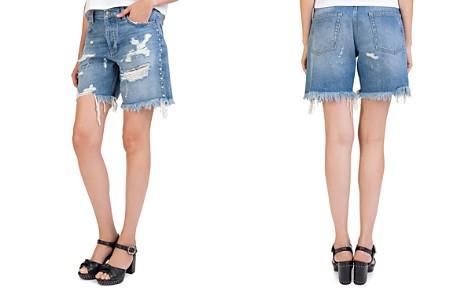 The Kooples Rhinestone-Trim Distressed Denim Shorts in Vintage Blue - Bloomingdale's_2