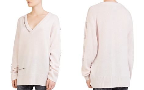 The Kooples Cashmere Ring-Trim Cutout Sweater - Bloomingdale's_2