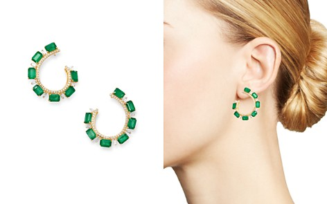 Bloomingdale's Emerald & Diamond Front-Back Earrings in 14K Yellow Gold - 100% Exclusive_2