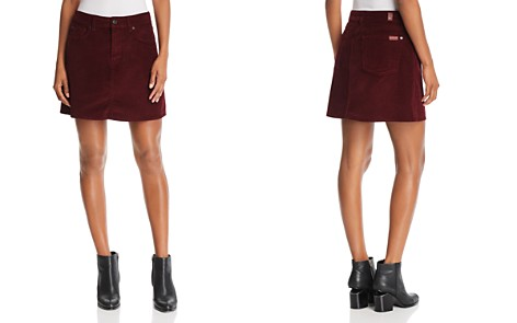7 For All Mankind Corduroy Mini Skirt in Ruby - Bloomingdale's_2