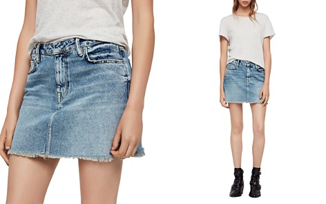 ALLSAINTS Betty Studded Frayed Denim Skirt - Bloomingdale's_2