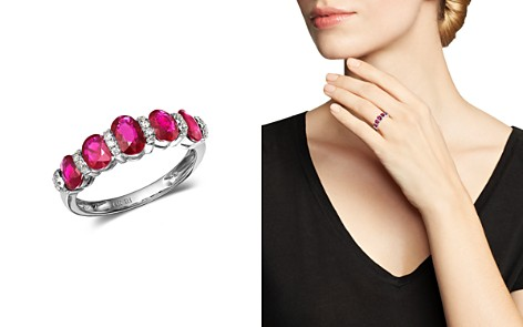 Bloomingdale's Ruby & Diamond Band Ring in 14K White Gold - 100% Exclusive_2