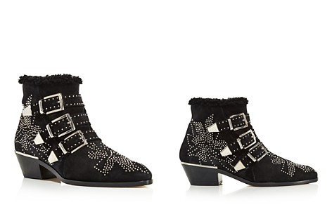 Chloé Women's Susan Pointed Toe Studded Suede & Shearling Booties - Bloomingdale's_2
