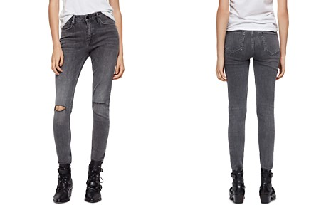 ALLSAINTS Grace Distressed Skinny Jeans in Washed Black - Bloomingdale's_2
