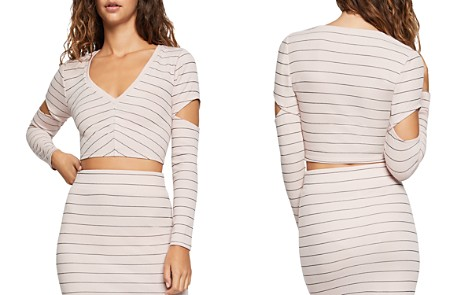 BCBGeneration Striped Cutout Cropped Top - Bloomingdale's_2
