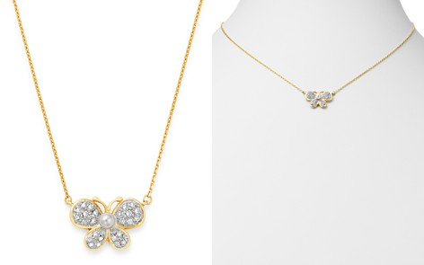 "Bloomingdale's Diamond & Cultured Freshwater Pearl Butterfly Pendant Necklace in 14K Yellow Gold, 16.75"" - 100% Exclusive_2"