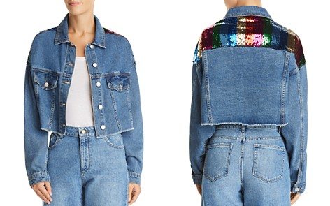 Sunset + Spring Sequined Cropped Denim Jacket - 100% Exclusive - Bloomingdale's_2